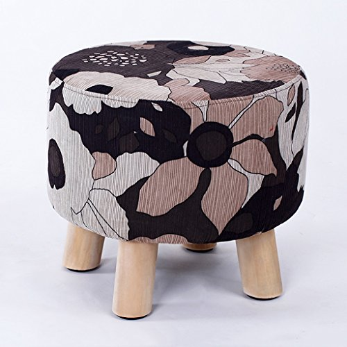 Footstools Upholstered Solid Wood Round Cute Fashion Stool Shoe Stool sedentary Comfort is not Tired (Color : Color)