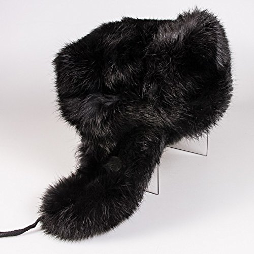 Man`s Russian Hat with Ear Flaps (Ushanka) with Natural Rabbit Fur (60 (L))