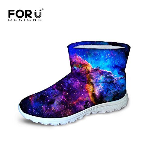 FOR U DESIGNS Casual Galaxy Star Universe Space Winter Shoes Girls Warm Flat Female boots waterproof