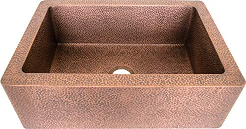 Copper Kitchen Sink in Stock, Single Bowl, Antique Copper, Hand Hammered Texture, Comes with Copper Basket Strainer (33