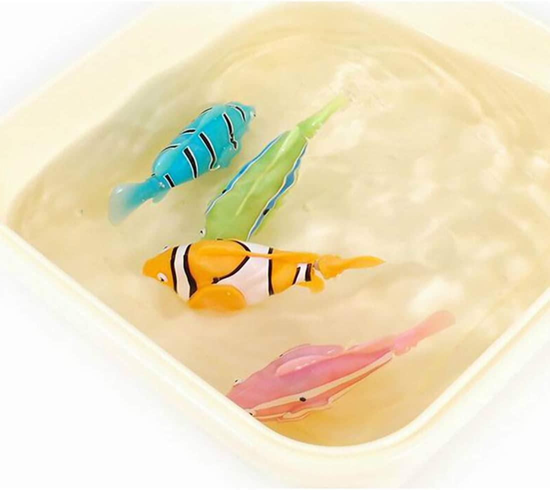 URBEAR 2PCS Swimming Robot Fish Activated Battery Powered Robot Fish Toy Fish Robottic Pet Fish Aquarium Decor Bathtub Toy for Children Kids Toddle