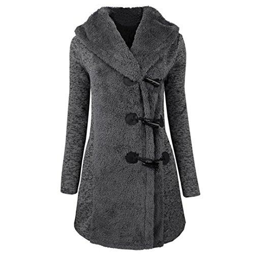 Abrigo grueso para mujeres,QinMM Abrigo de botones cálidos Sudadera con capucha de parka coat Gris