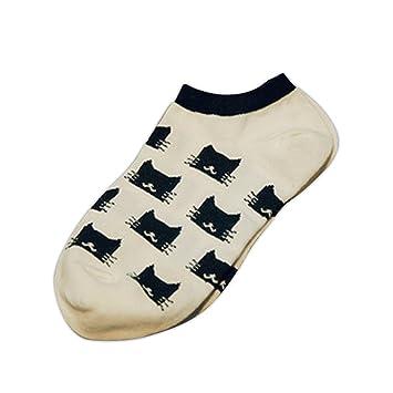 Lorjoy Las Mujeres Gato Impreso Escotado de la Altura del Tobillo Calcetines algodón de Dibujos Animados Calcetines Cortos: Amazon.es: Hogar
