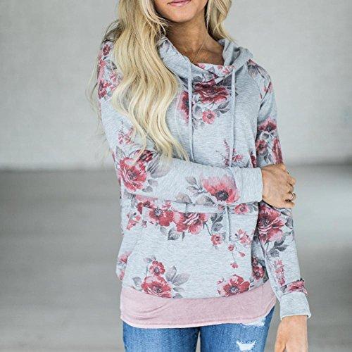 Tamaño grande sudadera para mujer Floral estampado, lmmvp cuello redondo Pull flor de manga larga Tops alto camisa blusa Hoodie Pullover - Sudadera con ...