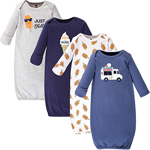 Hudson Baby Baby Cotton Gowns, Ice Cream Truck 4 Pack, 0-6 Months