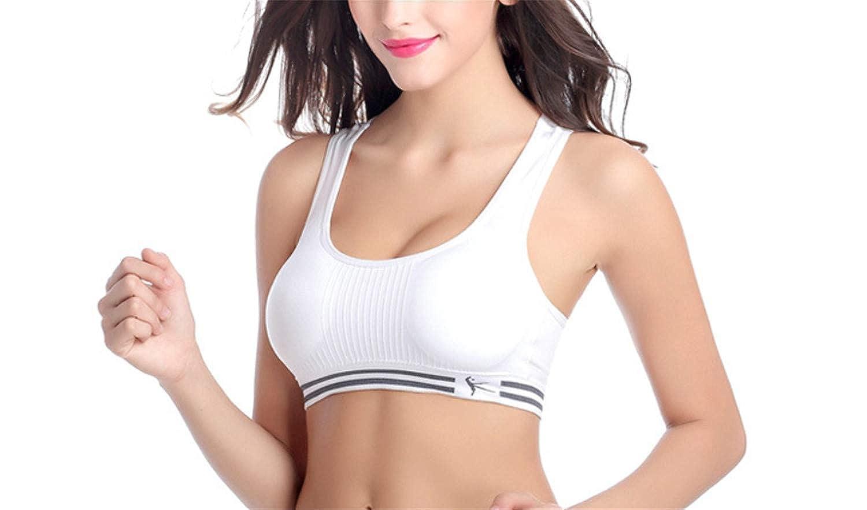 White Womens Sports Bra Medium Support Activewear Mesh Bras For Yoga Running Gym Fitness
