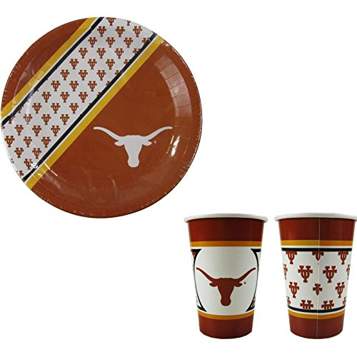 A 40 Piece NCAA Gift Set 20 Disposable Paper Plates and 20 Paper Cups - Texas Longhorns