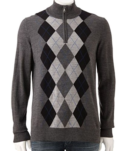 Liz Claiborne Apt 9 Mens Argyle 1/4 Zip Sweater Big 2XB XXB Grey Merino Wool Blend ()