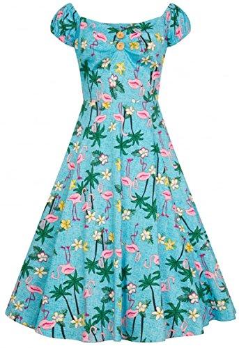 Tropical Tropischen mit Flamingo Motiven Kleid Collectif Damen Swing Dress Dolores Hellblau xgnCRw7