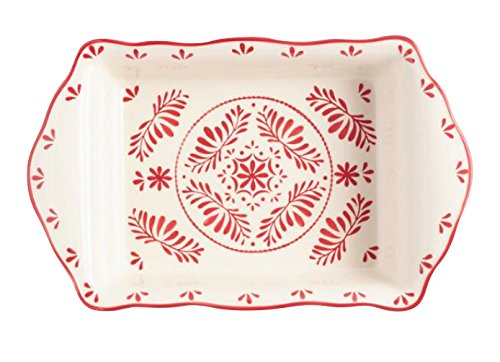 Ceramic Baking Dish, Pan, Baker, Lasagna pan,Oven to Table Rectangle Red and white Decorative Scandinavian Inspired Design PERFECT FOR YOUR CHRISTMAS TABLE PRESENTATION