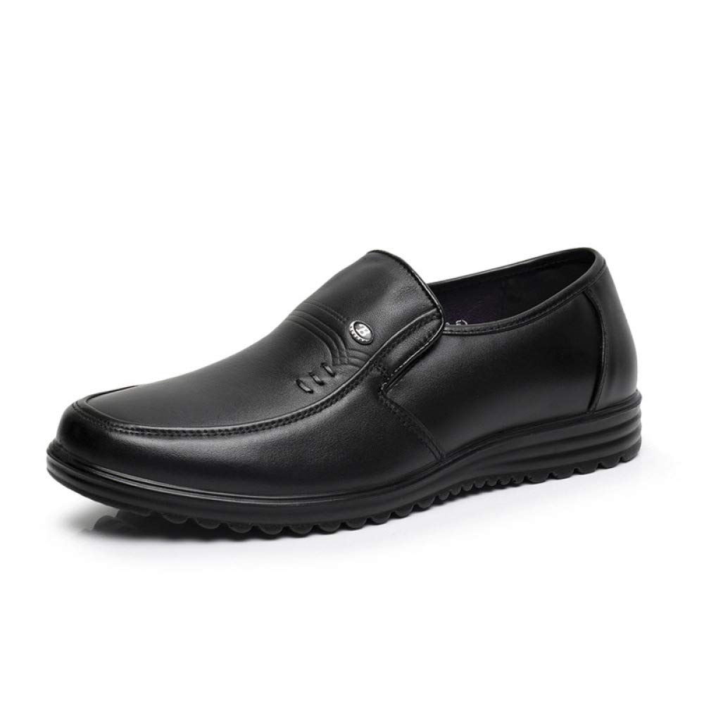 Zapatos Casuales De Hombre Wild Respirable Soft Bottom Slip-On Leather Shoes 43 EU|Black