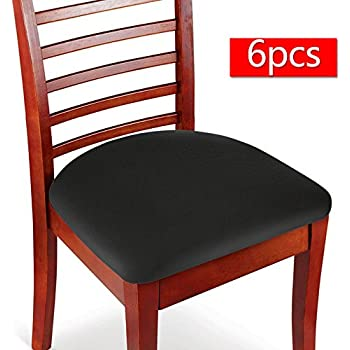 Superieur Boshen Elastic Spandex Chair Stretch Seat Covers Protector For Dining Room  Kitchen Chairs Stretchable 2 4 6PCS (Black, 6)