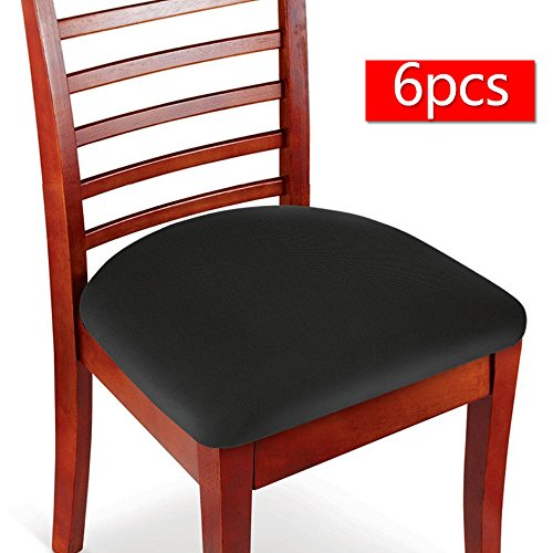 Seat Cushion Cover (Boshen 6PCS Elastic Spandex Chair Stretch Seat Covers Protector for Dining Room Kitchen Chairs Stretchable (Black, 6))