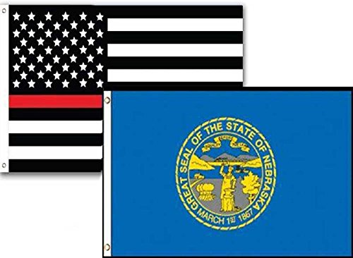 ALBATROS 2 ft x 3 ft USA Fire Thin Red Line Nebraska State 2 Pack Flag Set Combo 2x3 for Home and Parades, Official Party, All Weather Indoors Outdoors