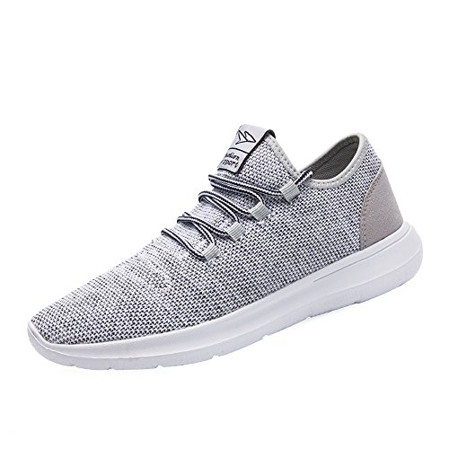 keezmz Men's Running Shoes Fashion Breathable Sneakers Mesh Soft Sole Casual Athletic Lightweight Gray-45 Light Gray Footwear