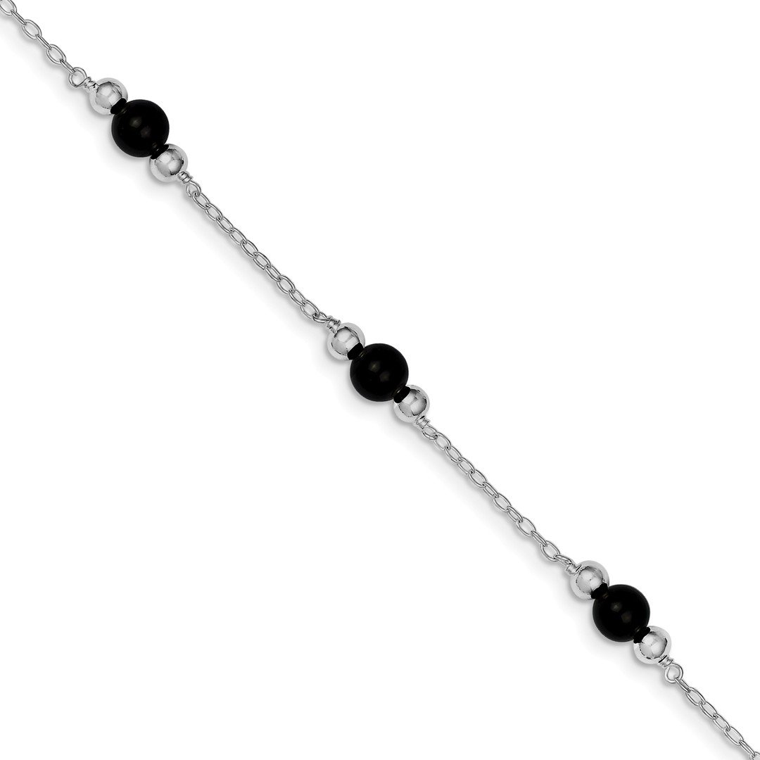 925 Sterling Silver 9 Inch Black Onyx Anklet Ankle Beach Chain Bracelet Fine Jewelry For Women Gift Set ICE CARATS IceCarats 1818870752688171734