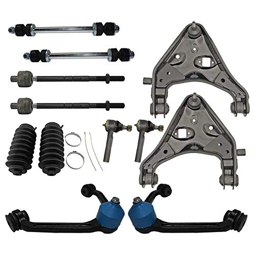 Detroit Axle - 12PC Front Upper and Lower Control Arm w/Ball Joint, Sway Bar, Inner Outer Tie Rod & Boot Suspension Kit for 1998-2006 2007 2008 2009 2010 2011 Ford Ranger w/Torsion Bar Suspension