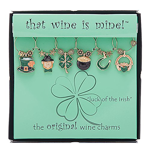 Wine Things ''Luck of The Irish'' Painted Wine Charms, Fits Neatly Around Stem, Multicolor by Wine Things