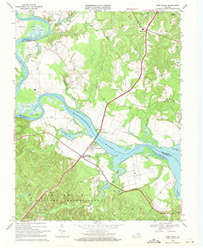 YellowMaps Port Royal VA topo map, 1:24000 Scale, 7.5 X 7.5 Minute, Historical, 1968, Updated 1971, 27 x 22 in - Polypropylene ()