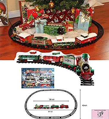 Classic Merry Christmas Santa Claus Train Set Railway Carriage Horn Sound Lights