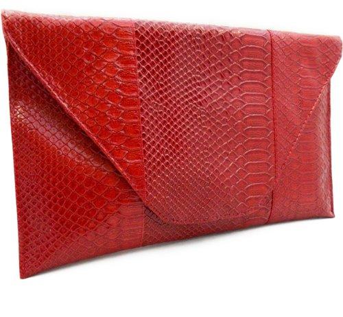 Python Snake Metallic Red Oversized Clutch