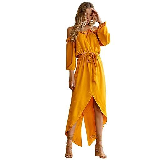 8302d6e5e60 Clearance Women Dresses Ruffled Long Sleeve Off Shoulder Maxi Dress Party  Evening Swing Beach Sun Dress