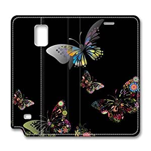 Brain114 Fashion Style Case Design Flip Folio PU Leather Cover Standup Cover Case with Colorful Butterfly 2 Pattern Skin Iphone 4/4S