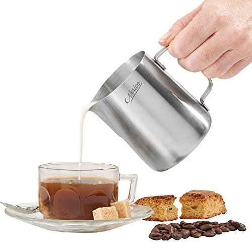 Nosiva Milk Frothing Pitcher - Stainless Steel Espresso Frothing Pitcher with Measurement Markings for Home Kitchen Maker, Hot Milk Frother and Cappuccino Maker with Two Free Art Coffee Stencils by Nosiva