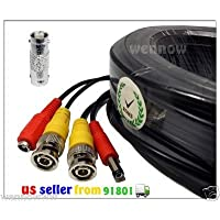 WennoW 165FT Black BNC Male & Power Cable for Qsee Indoor or Outdoor CCTV security camera with BNC male to male Adapter Extend your CCTV cable for Model QC444-411 QS464-211 QT428-818 QS206-811 QT536-842-2 QT428-440 QT526-1238 QT2124-1348-1 QT426-840 QT4532-1243-2 QT504-440 QT474-411 QT474-211 QT526-0656 QT4516-659 QT428-446 QT428-846 QT454-446 QT426-846 QC804-261-1 QS494-411 QS458-411 QS458-811 QC804-461 QC448-818-5 QT548-841-5 QT548-641 QT4516-1641-1 QC804-483 QS494-260-5 QS494-452 QC808-461 QT4760-1254-1 QS458-4A6-5 QS458-8A6-1 QT5680-4A6-1 QT5680-8A6-1 QT4760-16A4-1