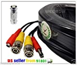 WennoW 100FT Extension BNC Male Cable for Night Owl Indoor Outdoor CCTV security camera kit 4BL-45GB
