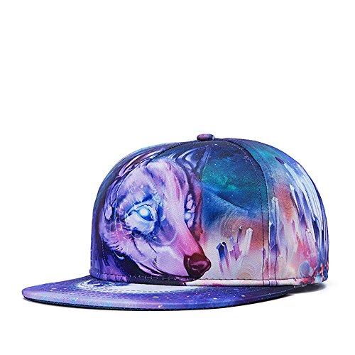 PrettyLife Men's Flat Bill Hats Wolf 3D Print Hat Snapback Hats Hip Hop Cap