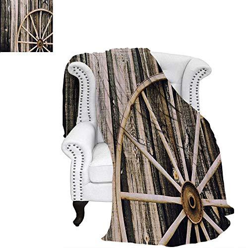 36 Inch Stake Wagon - warmfamily Barn Wood Wagon Wheel Print Artwork Image Wooden Barn Door and Vintage Rusty Wheel Rustic Home Farm Warm Microfiber All Season Blanket 60