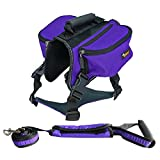 Ondoing Dog Backpack Medium Large Dogs Harness Leash With Removable Adjustable Self Saddle Bag Carrier Hound Bag for Travelling Hiking Camping XL - Purple