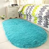 YJ.GWL High Pile Soft Shaggy Turquoise Blue Rug for Bedroom Gilrs Mermaid Room Decor Fluffy Area Rugs Kids Anti-Slip Nursery Carpets, 31'x63' Oval