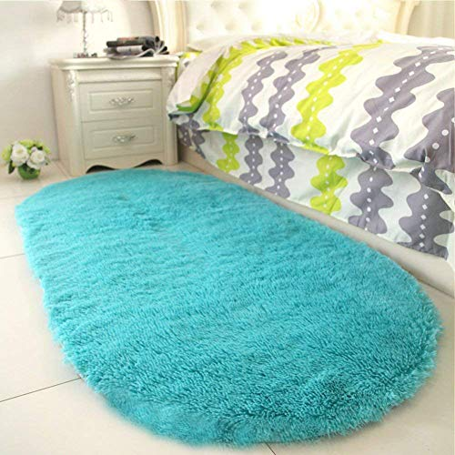 YJ.GWL High Pile Soft Shaggy Turquoise Blue Rug for Bedroom Gilrs Mermaid Room Decor Fluffy Area Rugs Kids Anti-Slip Nursery Carpets, 31
