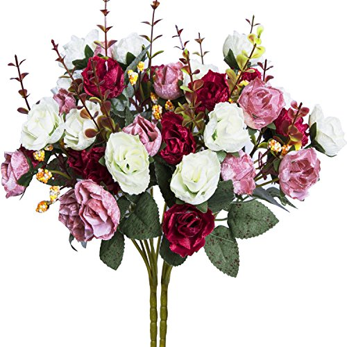 (Hibery 7 Branch 21 Heads Artificial Fake Flowers Silk Rose Bouquet Wedding Home Office Floral Decor, Pack of 2 (White Pink))