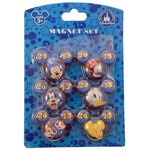 Disney 2015 Mickey Minnie Goofy Donald Chip and Dale and Tinker Bell 6 pack Magnet Set