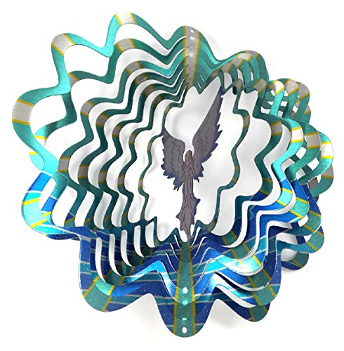 WorldaWhirl Whirligig 3D Wind Spinner Hand Painted Stainless Steel Twister Angel (12 Inch, Multi Color)