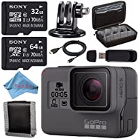 GoPro HERO5 Black CHDHX-501 + Sony 32GB microSDHC Card + Sony 64GB microSDXC + Custom GoPro Case for GoPro HERO and GoPro Accessories + Tripod Adapter For GoPro Bundle