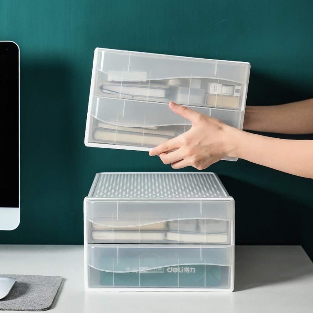 transparente Organizadores de escritorio XGzhsa Cajonera de sobremesa almacenamiento de oficina en el hogar Cajones cosm/éticos de archivo de pl/ástico duradero de doble capa para papel A4