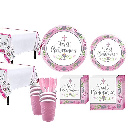 Party City Girl's First Communion Tableware Supplies for 36 Guests, Include Plates, Napkins, Table Covers, and Utensils]()