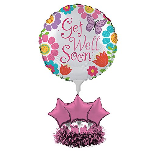 Creative Converting FBA_317298 Get Well Soon Balloon Centerpiece Kit, Flowers and Butterflies by Creative Converting