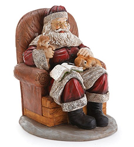 Figure of Santa in Chair with Puppies by Napco