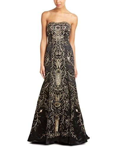 Sue Wong Women's Strapless Floral Evening Gown 6 Black