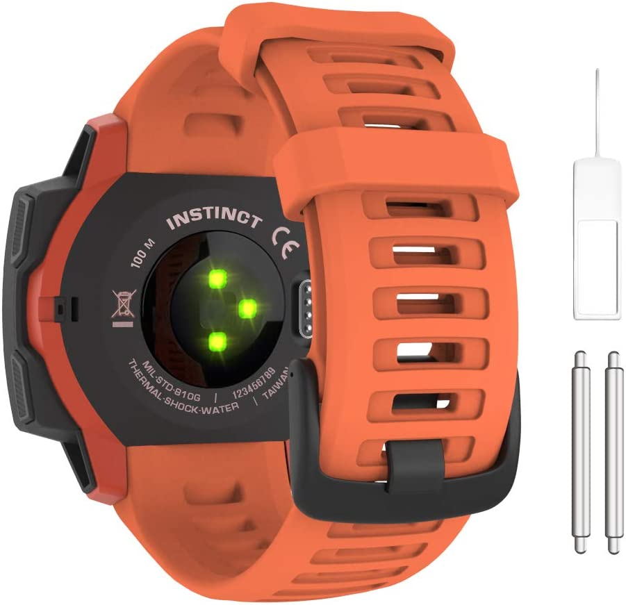 MoKo Watch Band Compatible with Garmin Instinct Sports GPS Smart Watch, Soft Silicone Adjustable Replacement Strap Fit Garmin Instinct/Instinct Tide/Instinct Tactical - Flame Red