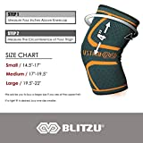 BLITZU Flex Plus Compression Knee Brace for Joint Pain, ACL MCL Arthritis Relief Improve Circulation Support for Running Gym Workout Recovery Best Sleeves Patella Stabilizer Pad