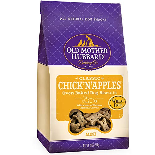 Old Mother Hubbard Classic Crunchy Natural Dog Treats, Chick'N'Apples Mini Biscuits, 20-Ounce Bag Chicken Mini Dog Treats