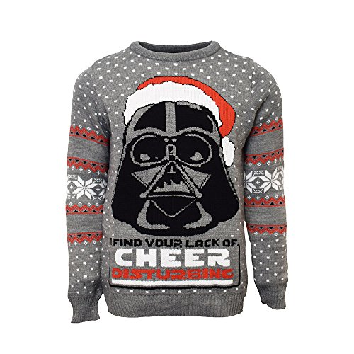 Official Star Wars Darth Vader Christmas Jumpers for Men Or Women - Ugly Novelty Gifts Xmas Jumper - Chosen One Unisex Knitted Sweater Design - Officially Licensed Disney Long Sleeve Sweater Top