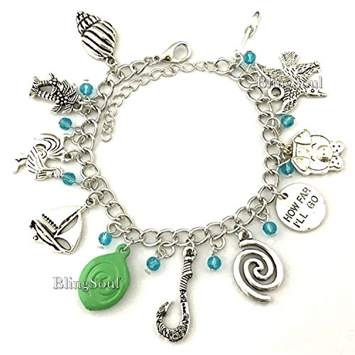 Vintage 11 Themed Charms Moana Bracelet - Halloween costume cosplay prop ideas (Silver) - C Halloween Costume Ideas