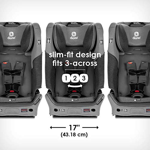 51t4bu9D0aL - Diono Radian 3QXT 4-in-1 Rear And Forward Facing Convertible Car Seat, Safe Plus Engineering, 4 Stage Infant Protection, 10 Years 1 Car Seat, Slim Design - Fits 3 Across, Gray Slate